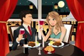 Restaurant : A vector illustration of a young couple having dinner at an upscale restaurant